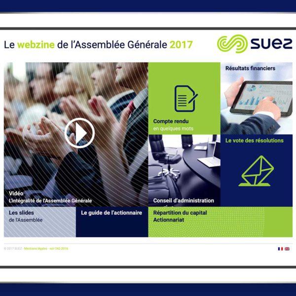 Suez Webzine, création d'un site web full digital, capture écran du site sur une tablette