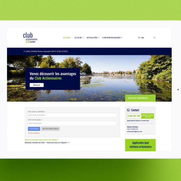 page d'accueil du site Suez développé sur mesure. Espace membre protégé par un mot de passe