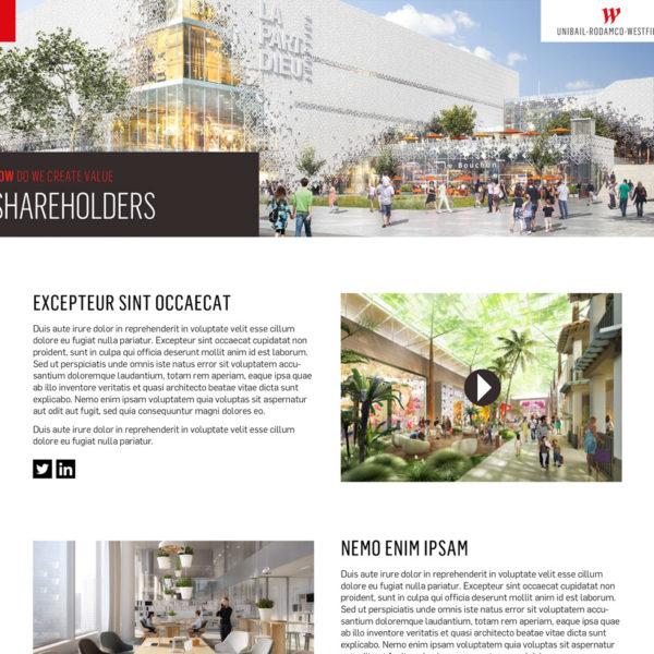 Unibail-Rodamco-Westfield, création d'un site internet présentant le rapport digital de la marque