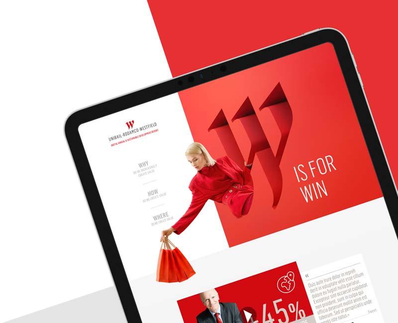 Concept de page d'accueil pour Unibail-Rodamco-Westfield, refonte du site internet